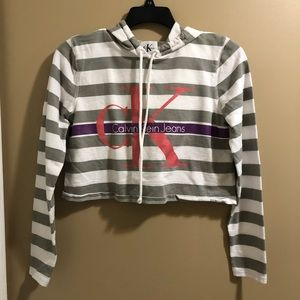 Grey striped CK cropped hoodie size S